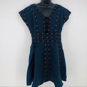 Zac Posen Target blue snap tape fit dress grommets
